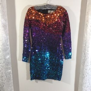 Oleg Cassini black tie rainbow sequin dress